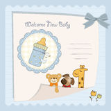 Baby shower card. Baby boy shower card with milk bottle Stock Images