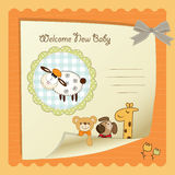 Baby shower card. With funny sheep Royalty Free Stock Image