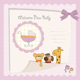 Baby shower card. Baby girl shower card with stroller Royalty Free Stock Photos