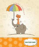 Baby shower card. With funny elephant and little cat under umbrella Royalty Free Stock Photography
