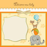 Baby shower card with animals. Baby shower card with pyramid of animals Stock Image