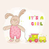 Baby Shower Card. Baby Shower or Arrival Card - with Baby Bunny - in vector Stock Photo