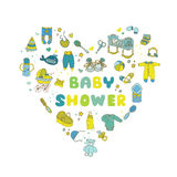 Baby Shower Card. Baby Shower or Arrival Card - in vector Stock Photo