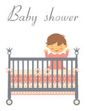 Baby shower card with baby in bed Stock Images