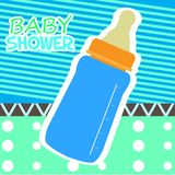 Baby shower card with a baby bottle. Vector illustration design royalty free illustration