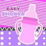 Baby shower card with a baby bottle. Vector illustration design stock illustration