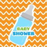 Baby shower card with a baby bottle. Vector illustration design vector illustration