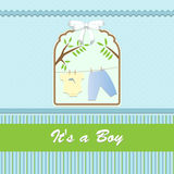 Baby shower card, for baby boy, with clothing and blue-green background Stock Photography