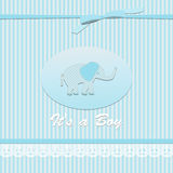 Baby shower card for baby boy, with elephant Stock Images
