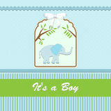 Baby shower card, for baby boy, with elephant and blue-green background Stock Image