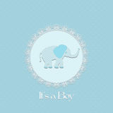 Baby shower card for baby boy, with elephant and lace frame Royalty Free Stock Photos