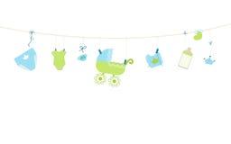 Baby shower card. Baby boy hanging symbols illustration Stock Image