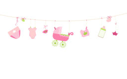 Baby shower card. Baby boy hanging symbols illustration Royalty Free Stock Images