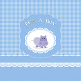 Baby shower card for baby boy, with hippo Stock Image