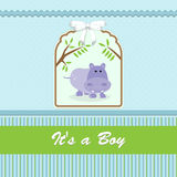 Baby shower card, for baby boy, with hippo and blue-green background Stock Images