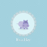 Baby shower card for baby boy, with hippo and lace frame Royalty Free Stock Image