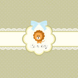 Baby shower card for baby boy, with lion. Vector eps10 , illustration Stock Photos