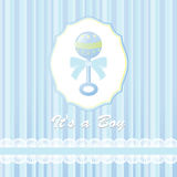 Baby shower card for baby boy, with rattle Stock Photo