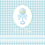 Baby shower card, with baby boy rattle Royalty Free Stock Photos