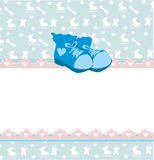 Baby shower card with baby boy shoes Stock Photo