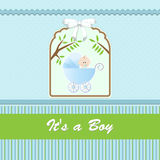 Baby shower card, for baby boy, with stroller and blue-green background Stock Photo