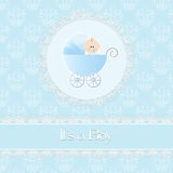 Baby shower card, for baby boy, with stroller and light blue damask background vector illustration