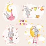 Baby Shower Card with Baby Bunny Royalty Free Stock Photography