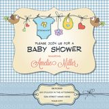 Baby shower card with baby clothings vector illustration