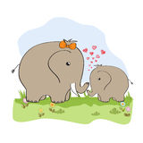 Baby shower card with baby elephant Stock Photos