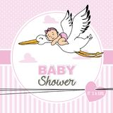 Baby flying on top of a stork. Baby shower card.baby flying on top of a stork Stock Photos