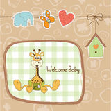Baby shower card with baby giraffe Stock Images