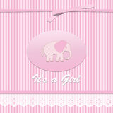 Baby shower card for baby girl, with elephant. Vector eps10 , illustration Stock Photo