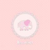 Baby shower card for baby girl, with elephant and lace frame. Vector  illustration Royalty Free Stock Photo
