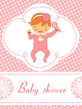 Baby shower card with baby girl  holding rattle. An elegant baby shower card with baby girl  holding rattle Stock Photos