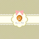 Baby shower card for baby girl, with lion. Vector eps10 , illustration Royalty Free Stock Photo