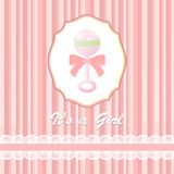 Baby shower card for baby girl, with rattle Royalty Free Stock Images