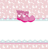 Baby shower card with baby girl shoes Royalty Free Stock Photo