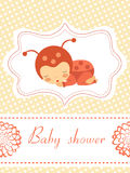 Baby shower card with baby-ladybug girl sleeping Royalty Free Stock Photo