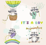Baby Shower Card - with Baby Racoon Stock Image