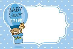 Baby shower card. bear and giraffe flying in a balloon royalty free illustration