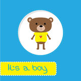 Baby shower card with bear. Its a boy Royalty Free Stock Photography