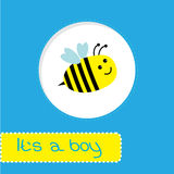 Baby shower card with bee. Its a boy. Baby shower card with bee.   Its a boy. Vector illustration Royalty Free Stock Images