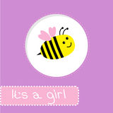 Baby shower card with bee. Its a girl Royalty Free Stock Photography