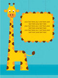 Baby shower card / birthday card with giraffe. Stock Image