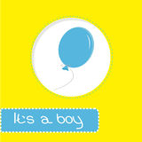 Baby shower card with blue balloon. Its a boy Stock Photography