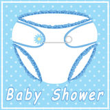 Baby shower card with blue nappy. On polka dot background Royalty Free Stock Images