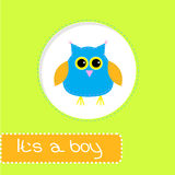 Baby shower card with blue owl. Its a boy. Vector illustration Stock Photography
