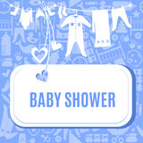 Baby shower card in blue and pink color Royalty Free Stock Photos
