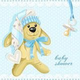 Baby shower card with blue soft rabbit Royalty Free Stock Image