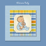 Baby shower card with boy Royalty Free Stock Image
